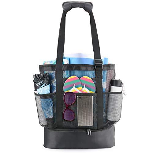 defair Mesh Strandtasche Tote, Extra große wiederverwendbare Shopping Strand Handtasche Familie Picknick Kühler Outdoor Grocery Organizer Net Bag (Family Beach Tote)
