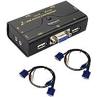 2 Port KVM Switch USB Hub VGA per il video audio / microfono Sincronizzazione automatica Interruttore