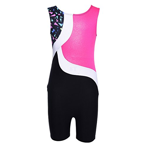 Nosii Girls Gymnastics Dance Leotards Sparkle Sleeveless Athletic Biketards Clothes for Kids Black 3-4 Years