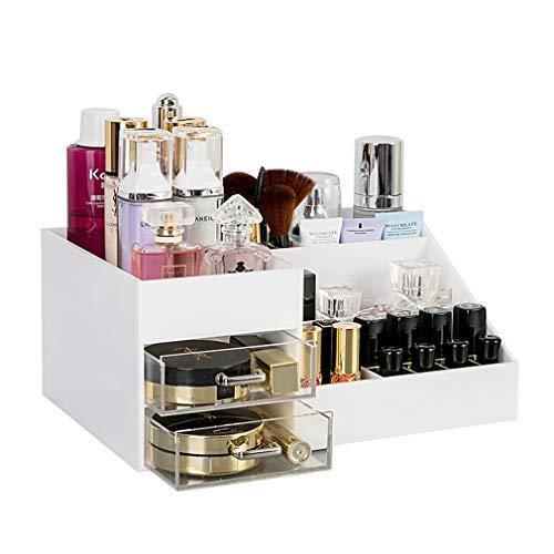 Acrylique Maquillage Organisateur de Maquillage Organisateur de Rangement Cosmétique Tiroirs Salle de Bains Compteur Organisateur Vanity Maquillage Table (Couleur : Blanc)