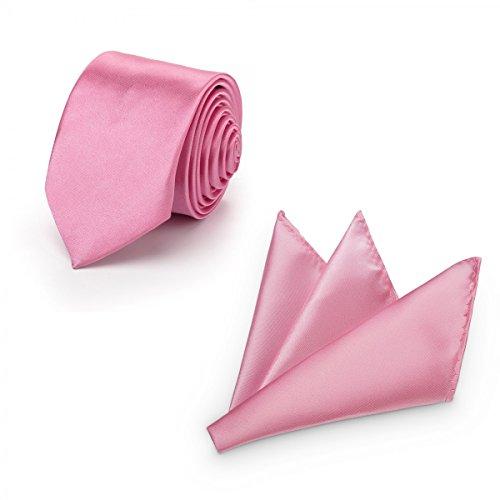 Rusty Bob - Krawatte mit Einstecktuch (in vielen Farben) - für die Verlobung, die Hochzeit - Schlips mit Taschentuch für das Sakko - 2er-Set - pastelrosa / puderigen