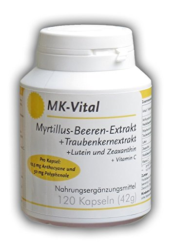 120 Kapseln a 50mg Myrtillus-Beeren(Schwarzbeeren)-Extrakt + 52,6 mg Traubenkernextrakt -