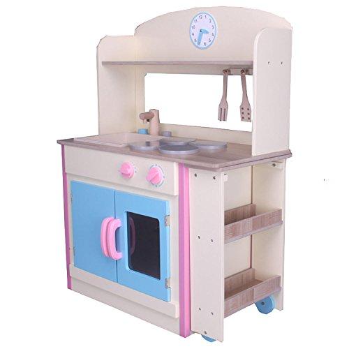 Preisvergleich Produktbild habeig® Kinderküche #797 mit AUSROLLBAREM Tisch Spielküche Küche Holzküche Kinder