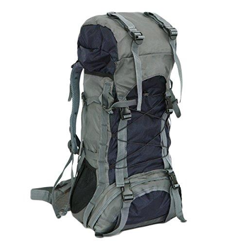 60L Outdoor-Sporttaschen Wasserdicht Nylon Berg Taschen Rucksäcke Wander,LightBlue Black