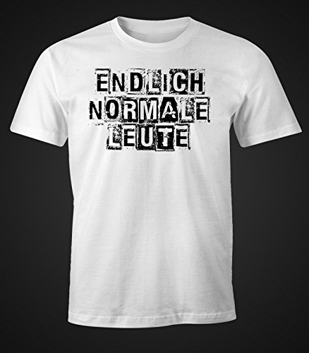 Herren T-Shirt - Endlich normale Leute - FunShirt Party Shirt Festival Moonworks® Weiß