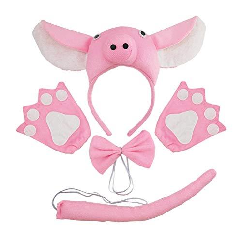 ostüm Kinder Schwein Anzug Ohren Stirnband Fliege Schwanz Handschuhe Set Leistung Requisiten für Cosplay Party (Rosa) 4 stücke ()