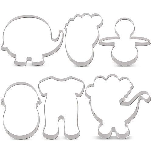 KENIAO Keksausstecher Set Babyparty Fondant Ausstechformen für Kinder - 6 Stück - Pyjama, Kinderwagen, Elefant, Baby, Fuß und Schnuller Ausstecher - Edelstahl