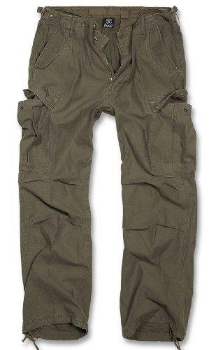 Brandit M65 Vintage Pantaloni Cargo-uomo B-1001 - cotone, OLIV, 100 % 100% cotone cotone 100% cotone, Uomo, XXL