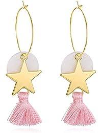 Mujer Rosa borla de Star Drop Dangle Pendientes chapado en oro de joyería cadena para el cuerpo