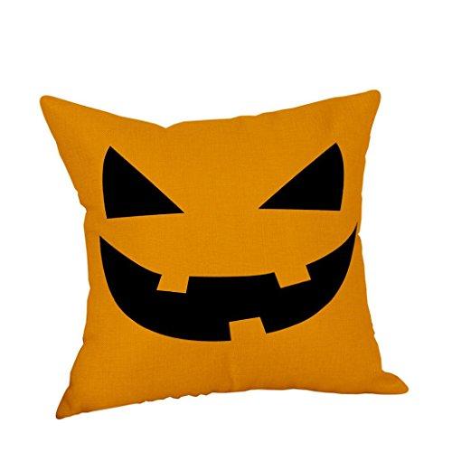 ihee Rechteck Kissen bezug Halloween Kürbis Kissen Fall Home Decor Kissenbezüge _ Kürbis Serie, Baumwoll-Leinen, Tooth_C, 18 x 18 (Halloween Bezug)