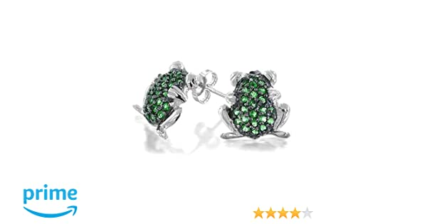Bling Jewelry Simulated Emerald May Birthstone Frog Animal CZ Stud earrings 925 Sterling Silver 10mm