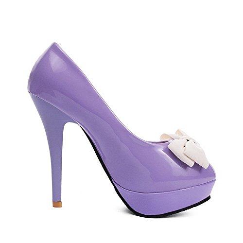 Ziehen Zehe Stiletto Auf Rund Pumps Schuhe Lila Damen Schlie脽en Rein VogueZone009 qFRnx0ZOt0