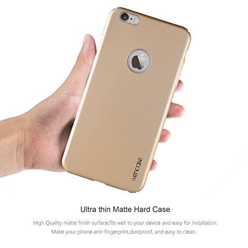 """Pour iphone 6 Plus Coque , ivencase Prime Haute Qualité Ultra Mince Scrub Etui PC [Tout Autour de la Protection] Dur Arrièr Housse pour Apple iphone 6s Plus (5.5 """") Or Oro"""