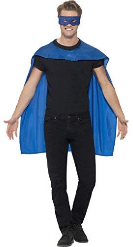 Confettery - Herren Superhero Umhang mit Maske Kostüm Karneval , Blau, Größe One Size