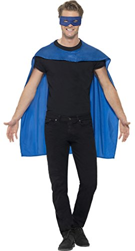 Confettery - Herren Superhero Umhang mit Maske Kostüm Karneval , Blau, Größe One Size (Ant Man Kostüm In Captain America)