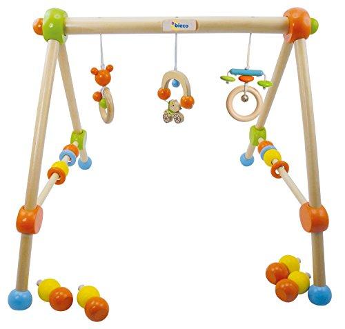 Bieco Spieltrapez Holz - höhenverstellbares Activity-Center, mit Figuren Rasseln und Kugeln, ab Geburt, mehrfarbig, unbedenklich, Artn 23000015