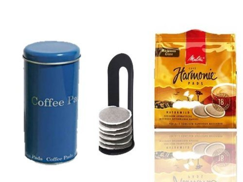 Melitta Harmonie KaffeePads NaturMild für Senseo +Padheber und Paddose dunkelblau