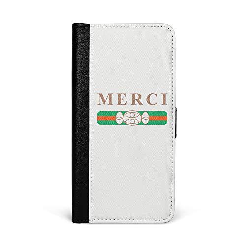 are Kunstleder Hülle in Schwarz mit Merci Bonbons Klappbare Leder Handy Hülle mit Magnetverschluss - 2in1 Smartphone Flip Case & Brieftasche Portemonnaie Zubehör ()