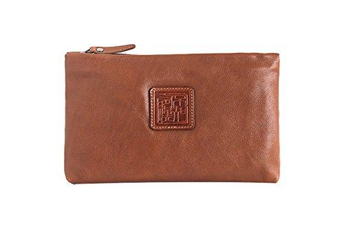 Genda 2Archer Leder Reißverschluss Geldbörse Portable Organizer Geldbörse Cash Key Handy Tasche (Braun) Braun