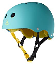 Triple 8 Brainsaver Rubber Helmet with Sweatsaver Liner Baja Teal Medium