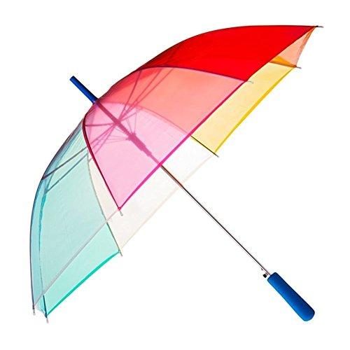 Regenschirm Transparent Durchsichtig Regenbogen, Farbvariante: blau