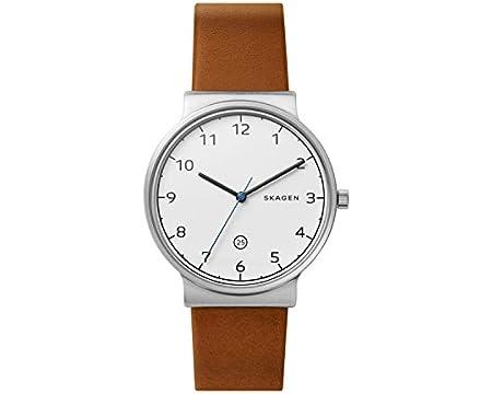 Skagen Mens Analogue Quartz Watch with Leather Strap SKW6433