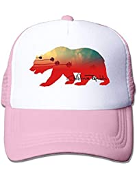CHKWYN California Bear Trucker Hat Unisex Adult Baseball Mesh Cap Black