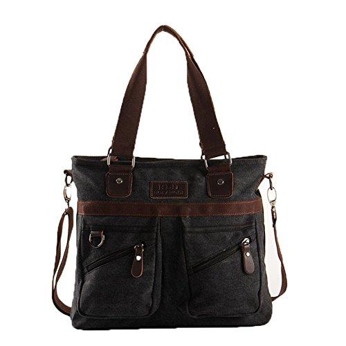 MongShop Herren Umhängetasche Vintage Sack Canvas Umhängetasche aus Leder Military Schulter Laptoptaschen Bookbag Working Bag für Männer und Frauen-Schwarz (Leder-münzen-satz)