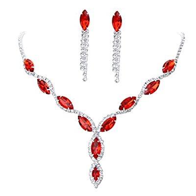 YAZILIND Women Wedding Jewelry bright red Crystal Rhinestone Droplets Necklace Earrings Party Set by YAZILIND JEWELRY LIMITED