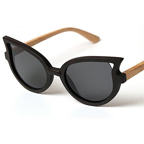Sonnenbrillen Mode Damen-Sonnenbrillen Klasse handgefertigte Holzrahmen polarisiert für Frauen Cat Eyes Sonnenbrillen UV-Schutz fahren Persönlichkeit Strand Sonnenbrillen ( Farbe : Schwarz )