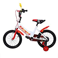 MuGuang 16 Inch Children Bike Child Bicycle Study Learning Riding Bike Boys Girls Bicycle with Stabilisers for 4-8 Years (Red)