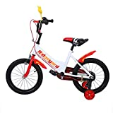 MuGuang 16 Pollici Bicicletta da Bambina Bicicletta per Bambino Studio apprendimento Equitazione Bici Ragazzi Ragazze Bicicletta con stabilizzanti per 4-8 Anni(Rosso)