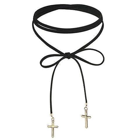 KnSam Ras du Cou Choker Velours Acier Inoxydable Croix Nœud à Deux Boucles Round Stripe Collier Or