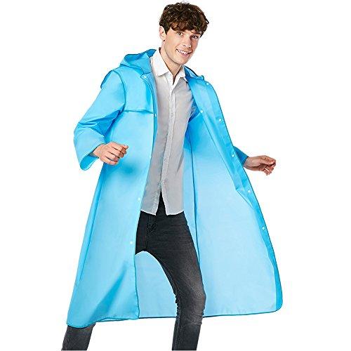 Regenmantel-regen ponchos für Erwachsene, haltbares lichtdurchlässiges Regen-Umhang, leichte lange Regen-Jacke, bunte bereifte faltbare wasserdichte Regenkleidung, Zubehör im Freien für Reise, Picknick, kampierend, tragbare Regen-Abnutzung mit Hut-Haube (Blau, M)