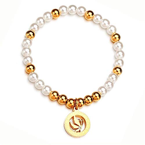 qhes Hand-Woven Pearl Bracelet Stainless Steel Butterfly Diamond Pendant - Hand-woven-diamond