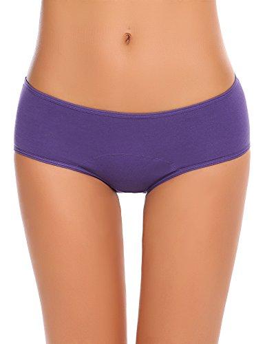 Untlet Damen Menstruation Slips Auslaufsicher Zeitraum Höschen Tangas Atmungsaktiv Unterwäsche Hüftslip Panty Unterhose 3-er Pack, Schwarz/Grau/Lila648, EU 38(Herstellergröße: M)