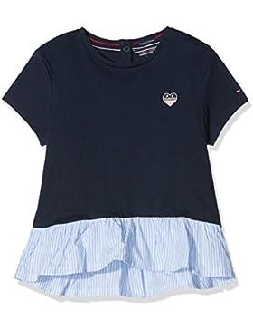 Tommy Hilfiger Mädchen T-Shirt Combi Ruffle Hem CN Knit S/S