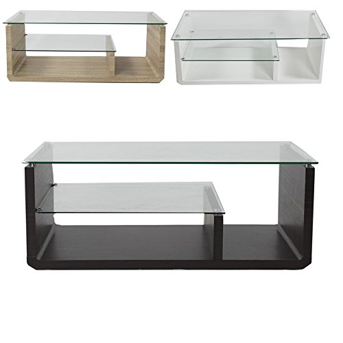 Charles Jacobs Glass Rectangle Contemporary Multi-level Luxury High-end Modern Lounge Coffee Table with Storage (Black)