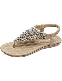 Damen Sandalen Sommer Böhmische Blume Perlen Plattform Slip on Flip Flops T-Strap Sommerschuhe Frauen Flach Sandaletten