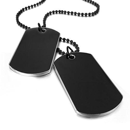 MunkiMix 2 PCS Metalllegierung Legierung Emaille Anhänger Halskette Schwarz Armee Militärischen Stil Namen Doppel Doppelseitig Dog Tag 27 Zoll Kette Herren -