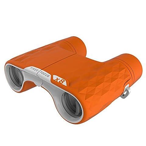 JBZP Spielzeug Fernglas Teleskop Kinder Feste Fokus Vergrößerung 8X Outdoor Exploration Weihnachten Geschenkcompact Und Portable (Orange)