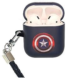 Marvel AirPods Schutzhülle mit Umhängeband für Apple Airpods 1 und AirPods 2 (vorne mit LED) Symbol Captain America