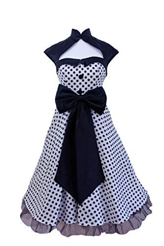 Vintage 1950er 60er Swing Rockabilly Schwarz Weiß Rot Polka Dot Retro Abend Party Kleid UK Größe 8–24, Schwarz - Weiß, 50 (Polka Dot Kleid Schwarz Weiß)