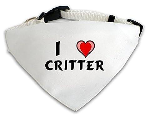 Personalisierter Weißer Hundschal mit Aufschrift Ich liebe Critter (Vorname/Zuname/Spitzname)