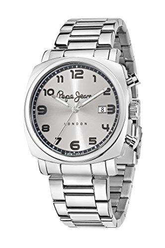 Pepe Jeans Howard hommes de montre à quartz avec cadran argenté, affichage analogique et bracelet en acier inoxydable Argenté r2353111003