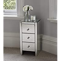 Superbe Other Mirrored Glass Bedside Table Cabinet 3 Drawers And Glass Handles Mirror  Furniture