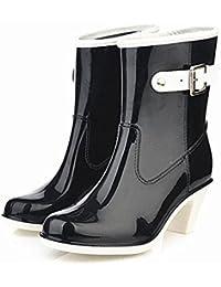 e1be72c9f4e5e Y JAXIE Stivali da pioggia con tacco alto   sezione donna con fibbia in  tubo stivali da pioggia   scarpe di gomma scarpe da…
