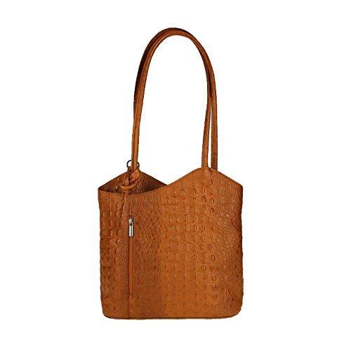 OBC Made in Italy Ledertasche Damentasche 2in1 Handtasche Rucksack Umhängetasche Schultertasche Tablet/Ipad mini bis ca. 10-12 Zoll 27x29x8 cm (BxHxT) (Schwarz) Cognac (Kroko)