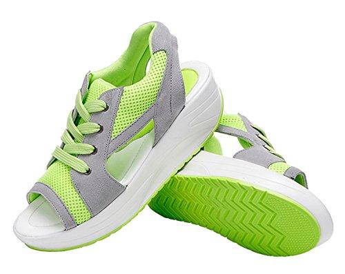 Dayiss Damen Sommer Schuhe mit Kleilbabsatz Schürschuh Sport Freizeitschuhe Turnschuh Peeptoes Grün