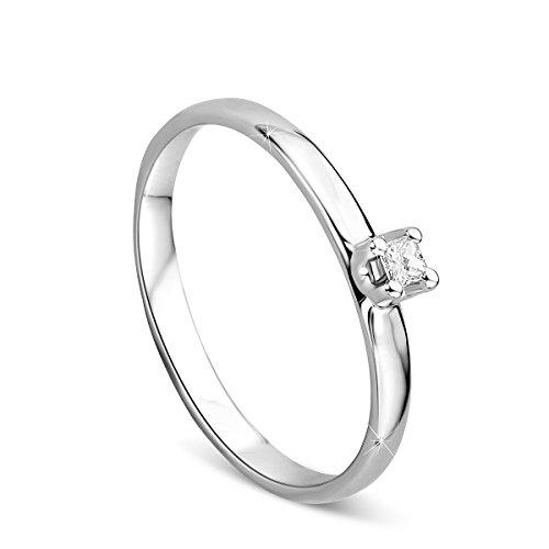 Orovi anello di fidanzamento da donna, solitario, in oro bianco da 9carati (375), brillanti da 0,05 carati, anello in oro bianco con diamanti e oro bianco, 15, colore: gold, cod. or72068r55